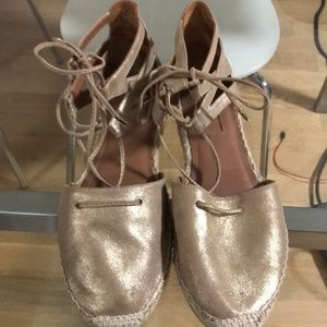 Aquazzura gold espadrille flat tie sandals